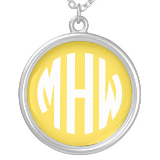 Pineapple White 3 Initials in a Circle Monogram Round Pendant Necklace
