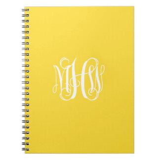 Pineapple White 3 Initials Vine Script Monogram Notebooks