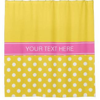 Pineapple White LG Dot Hot Pink CB Name Monogram Shower Curtain