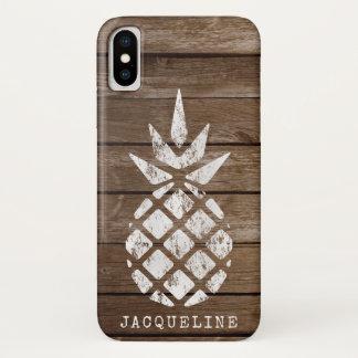 Pineapple, Whitewash on Wood iPhone X Case