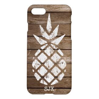 Pineapple, Whitewash on Wood, Personalize Option iPhone 8/7 Case
