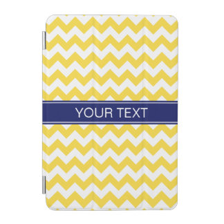 Pineapple Wht Chevron 7P, Navy Name Monogram iPad Mini Cover