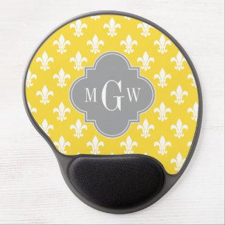 Pineapple Wht Fleur de Lis Dk Gray 3 Init Monogram Gel Mouse Pads