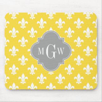 Pineapple Wht Fleur de Lis Dk Gray 3 Init Monogram Mouse Pad