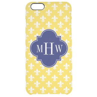 Pineapple Wht Fleur de Lis Navy 3 Initial Monogram Clear iPhone 6 Plus Case