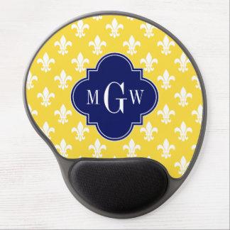 Pineapple Wht Fleur de Lis Navy 3 Initial Monogram Gel Mousepad