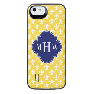 Pineapple Wht Fleur de Lis Navy 3 Initial Monogram iPhone SE/5/5s Battery Case