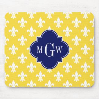 Pineapple Wht Fleur de Lis Navy 3 Initial Monogram Mouse Pads