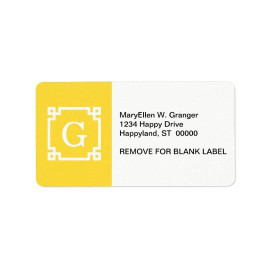 Pineapple Wht Greek Key Frame #2 Initial Monogram Label