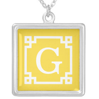 Pineapple Wht Greek Key Frame #2 Initial Monogram Silver Plated Necklace