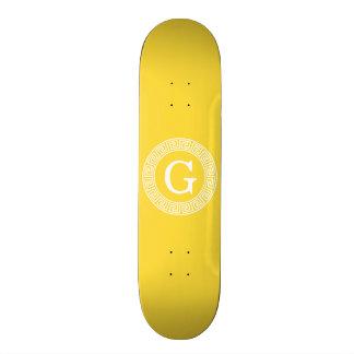 Pineapple Wht Greek Key Rnd Frame Initial Monogram 18.1 Cm Old School Skateboard Deck
