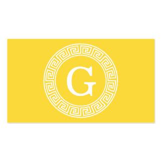 Pineapple Wht Greek Key Rnd Frame Initial Monogram Pack Of Standard Business Cards