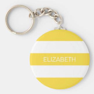 Pineapple Wht Horiz Preppy Stripe #3 Name Monogram Basic Round Button Key Ring