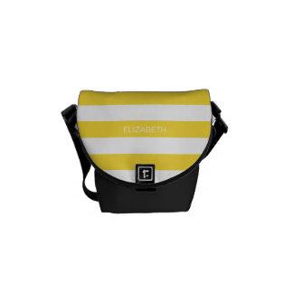 Pineapple Wht Horiz Preppy Stripe #3 Name Monogram Commuter Bag