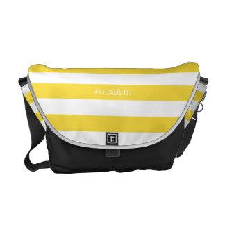 Pineapple Wht Horiz Preppy Stripe #3 Name Monogram Commuter Bags