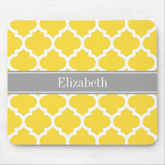 Pineapple Wht Moroccan #5 Dk Gray Name Monogram Mouse Pad