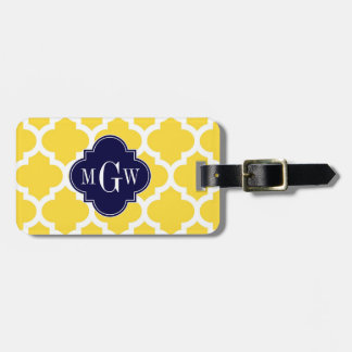 Pineapple Wht Moroccan #5 Navy 3 Initial Monogram Luggage Tag