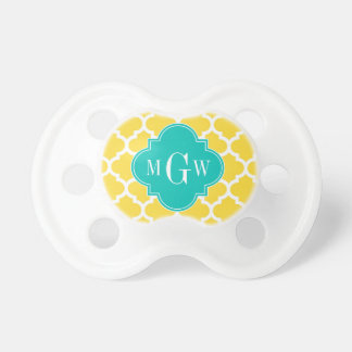 Pineapple Wht Moroccan 5 Teal 3 Initial Monogram Pacifiers
