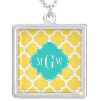 Pineapple Wht Moroccan 5 Teal 3 Initial Monogram Personalized Necklace
