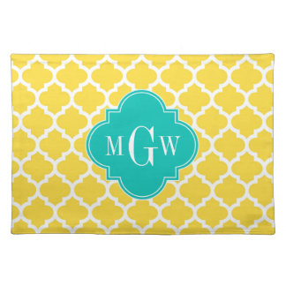 Pineapple Wht Moroccan #5 Teal 3 Initial Monogram Placemat