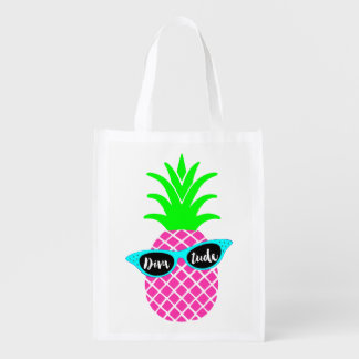 "Pineapple with ""DIVAtude"" Reusable Grocery Bag"