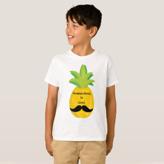 Pineapple with Mustache Homeschool is Cool T-Shirt