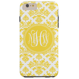 Pineapple Wt Damask #3 Yellow Vine Script Monogram Tough iPhone 6 Plus Case
