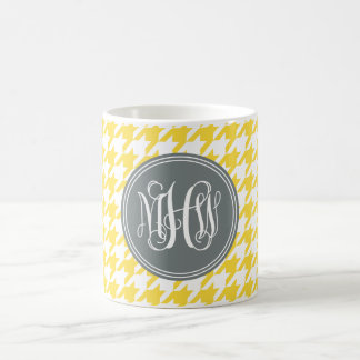 Pineapple Wt Houndstooth Charcoal 3I Vine Monogram Coffee Mugs