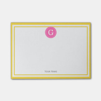 Pineapple Yellow Framed Round Hot Pink 1I Monogram Post-it Notes