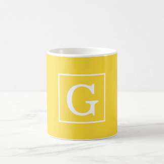 Pineapple Yellow White Framed Initial Monogram Basic White Mug