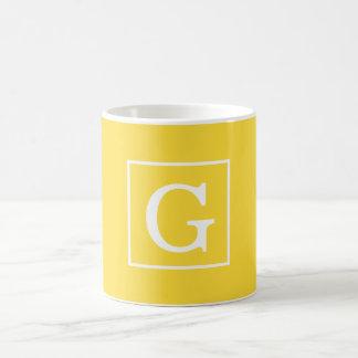 Pineapple Yellow White Framed Initial Monogram Basic White Mug