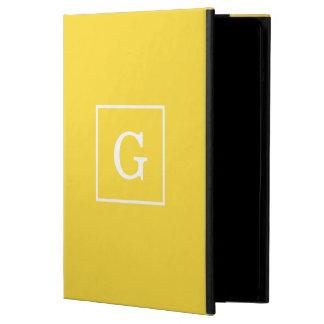 Pineapple Yellow White Framed Initial Monogram iPad Air Case