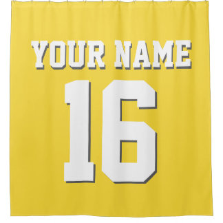 Pineapple Yellow White Sports Jersey Team Jersey Shower Curtain