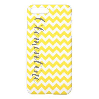 Pineapple Yellow Wht Chevron Gray Script Monogram iPhone 7 Plus Case