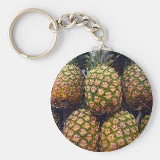 Pineapples Basic Round Button Key Ring