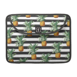 Pineapples Exotic Stripes Beach Grey Sleeve For MacBooks