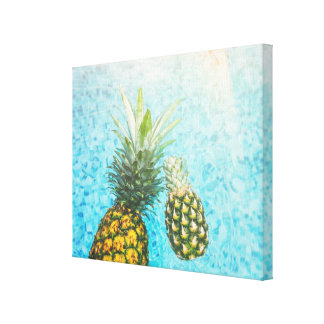 Pineapples in Swimming Pool Canvas Print