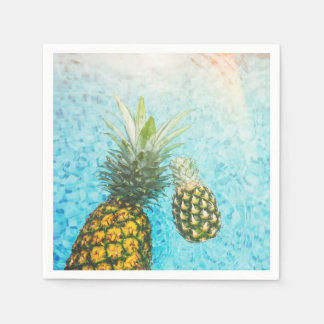 Pineapples in Swimming Pool Disposable Serviettes