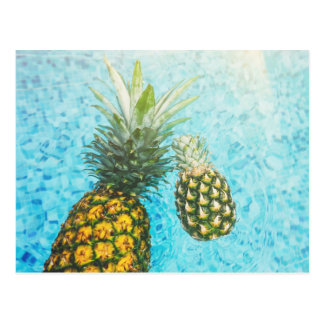 Pineapples in Swimming Pool Postcard