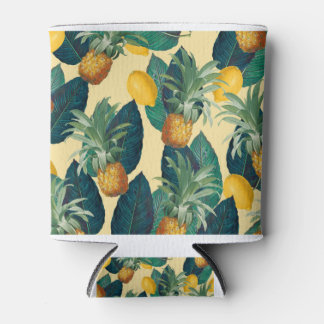 pineapples lemons yellow can cooler