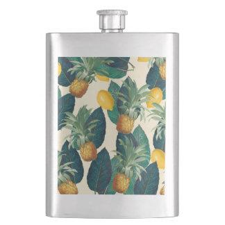 pineapples lemons yellow hip flask