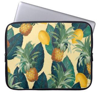 pineapples lemons yellow laptop sleeve