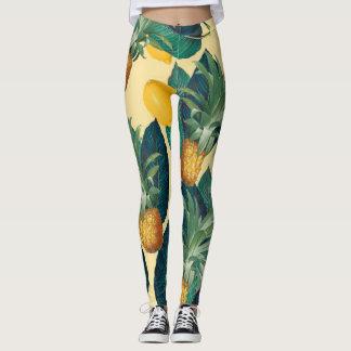 pineapples lemons yellow leggings
