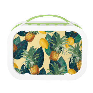 pineapples lemons yellow lunchbox