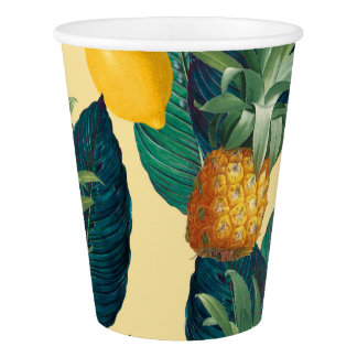 pineapples lemons yellow paper cup