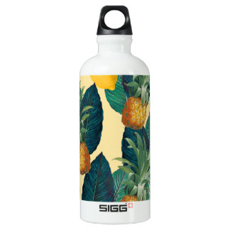 pineapples lemons yellow water bottle