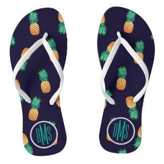 Pineapples On Navy | Monogram Thongs