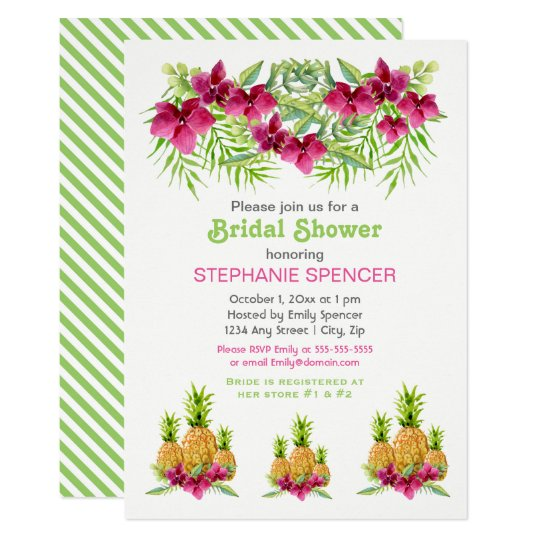 Pineapples Orchids Ferns Tropical Bridal Shower Card