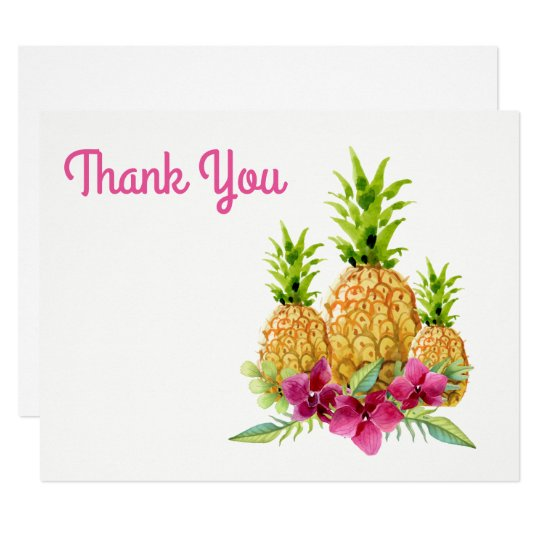 Pineapples Orchids Ferns Tropical Thank You Card