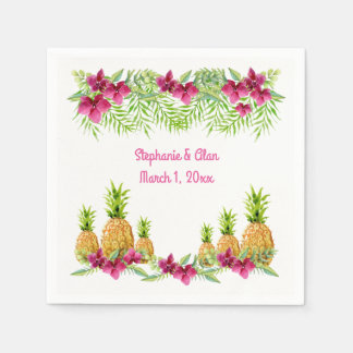 Pineapples Orchids Ferns Tropical Wedding Disposable Serviettes